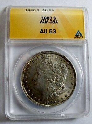 1880 P MORGAN DOLLAR VAM 28A ANACS AU53 CLASHED OBVERSE N & ST