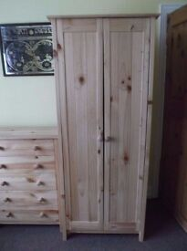 3 Piece Bedroom Suite Pine Wardrobe Two Sets 5 x Drawers From Argos