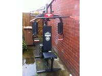 Multigym and punch bag.