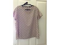 River Island Size 16 ladies t shirt light pink with black dots in good condition