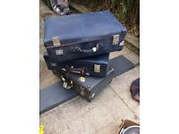 3 genuine Globetrotter suitcases, vintage style, 1980s - theatre prop display