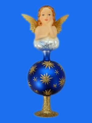 INGE GLAS HEIRLOOMS ANGEL FINIAL TREE TOPPER GERMAN GLASS CHRISTMAS ORNAMENT