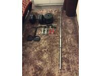 Dumbbells, bar and other fitness related items