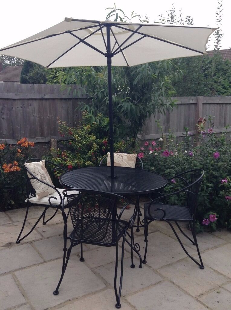 4 Seater Black Metal Garden Furniture Patio Set Including