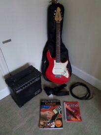 Peavey Raptor Special guitar with Ross RG-10 amplifier, Ritter gig bag, cable, strap and accessories