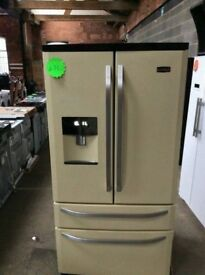 Ex Display RangeMaster Cream A+++Class Frost Free American Style Fridge Freezer With Water Dispenser