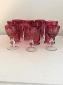 Collection of old Cranberry glasses