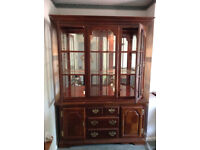Large Cabinet with Mirrored Display Area Glass Shelves with Cupboard and Drawers