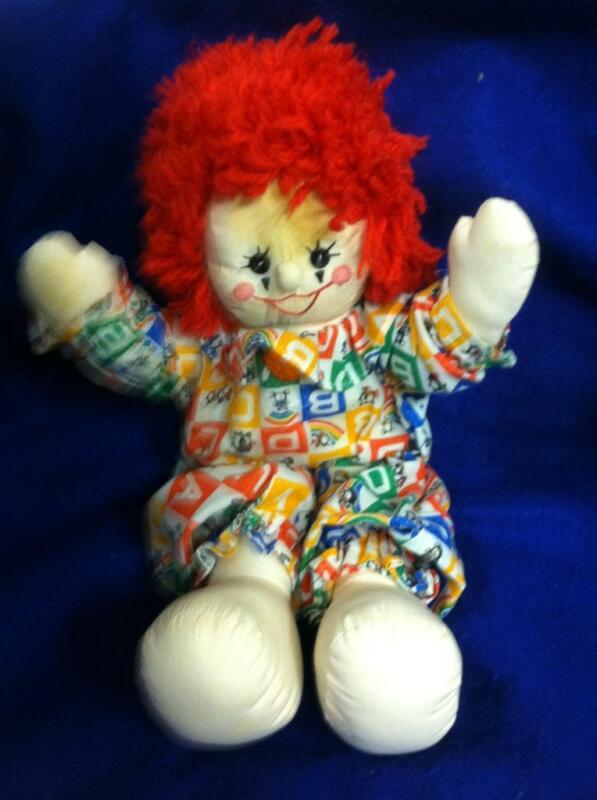 VINTAGE HAND MADE CLOTH STUFFED CLOWN RED YARN HAIR ALPHA JUMPSUIT BUTTON EYES
