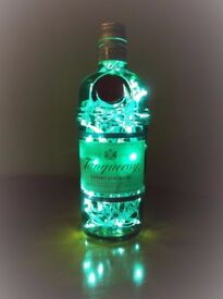 Unique Christmas Gift etc. Upcycled 70cl Funky Spirit Bottle Lamps ~ Using 40 New LED Lights