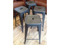 Four Tolix Bar Stools, Gunmetal Metallic Grey, Brand New, £20 each.