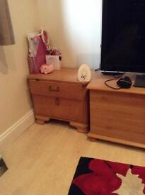 2 bedside chest and wooden ottoman