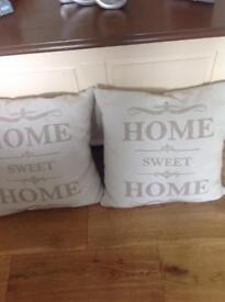 Two 'HOME ' cushions £7.00 pair