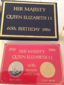 Her Majesty Queen Elizabeth II 60th Birthday medal Issue. Immaculate condition
