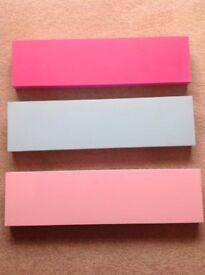 Floating shelves, multi coloured