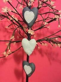 Homemade Denim hanging hearts