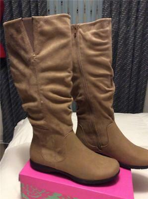 New Bealls Bay Studio Leonara Cognac Suede Flat Wedge Boots 7 5  8 Zippers Comfy