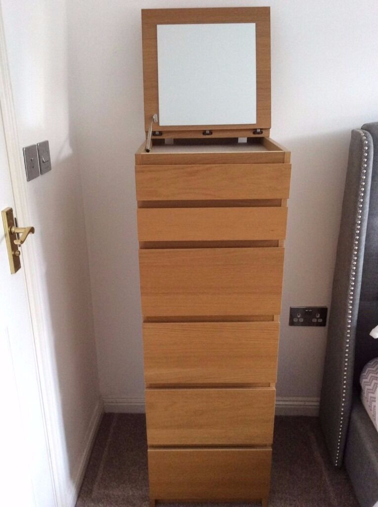 Ikea Malm Chest Of 6 Drawers Oak Veneer Mirror Glass In