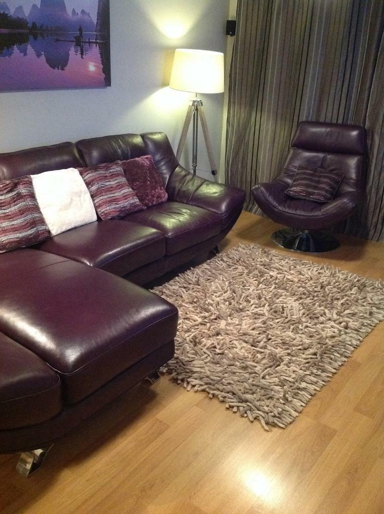 Salvador Right Hand Chaise Lounge Sofa Swivel Chair In Stunning Aubergine Leather