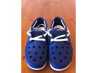 Kids Crocs Navy & White Beach Line Boat Shoes UK Size 1