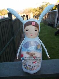 OOAK ALTERED ART UNIQUE FOLK ART FAIRYTALE HARE STORY TELLING HANDPAINTED DOLL
