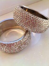 Beautiful wide silver diamante bracelets, excellent condition