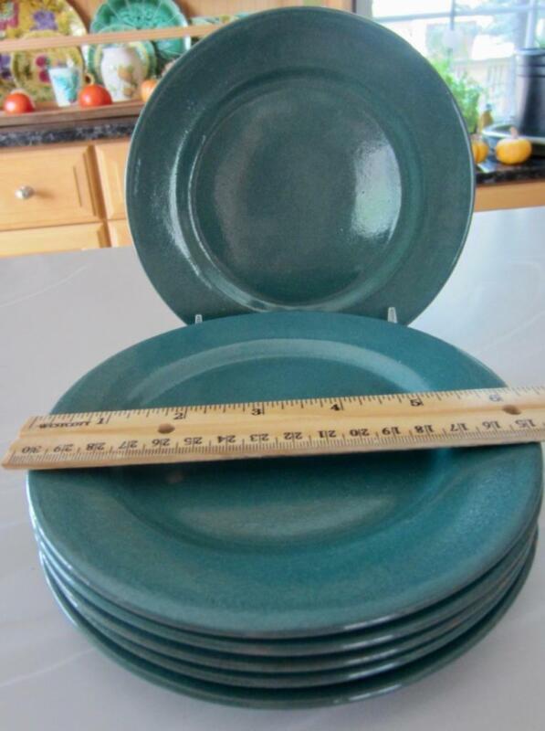 "2 Paul Revere Pottery SEG Green Glazed Sml Side Plates 6½"" Boston, MA c1920"