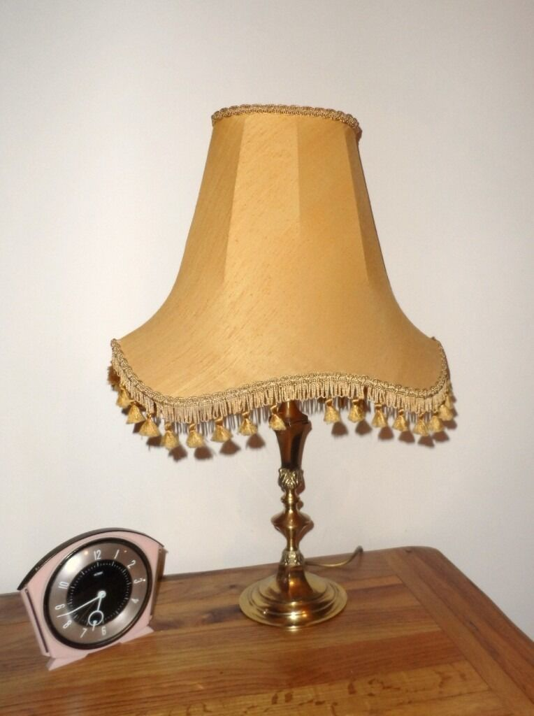 Vintage brass table lamp base retro 70s gold shade 60s 24 tall vintage brass table lamp base retro 70s gold shade 60s 24 tall working aloadofball Images