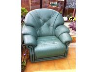 3 piece leather suite Green.