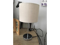 Silver Touch table light / lamp with cream light shade