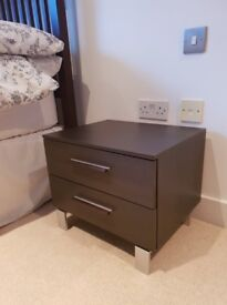 Pair of contemporary dark wood Ikea bedside tables