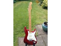 Fender 1997 Japanese stratocaster, flames neck, candy apple red