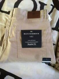 BLUE HARBOUR LUXURY TROUSERS  FROM MARKS AND SPENCER 38W