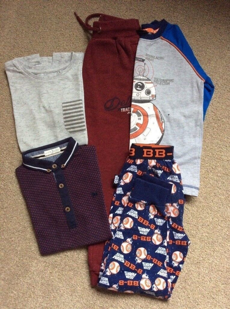 Boys Clothes. Star Wars BB-8 Pyjamas, T-Shirts From Jasper Conran & Next & 1 Pair of Joggers. 6-7Yr