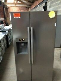 Beko A+++ Stainless Steel Frost Free American Fridge Freezer in Good Working Order and Condition