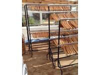 Clothes rails and wooden hangers