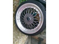 Bbs rs alloy wheels multi fitment with good tyres. T4 5 x112 vw golf Audi BMW