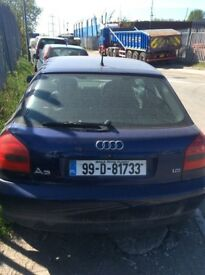 2000 AUDI A3 1.6 DRIVER SIDE FRONT DOOR BLUE SALVAGE PARTS SPARES