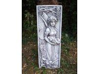 Pair of Ornate, Garden, Raised Relief Concrete Angels