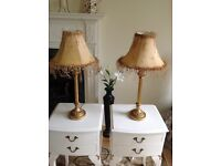 FRENCH VINTAGE STYLE PAIR OF GILT EFFECT TABLE LAMPS WITH GOLD FROU FROU BEADED SHADES SHABBY CHIC