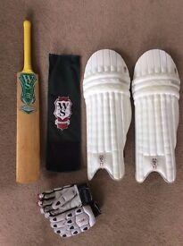 "Warsop ""Platinum"" cricket bat, gloves and pads"