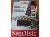 SanDisk Cruzer Ultra 64GB USB 3.0 Memory Stick Flash Back Up Drive 80MB/S Speed
