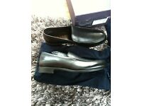 Prada authentic moccasins loafers shoes brand new with box and dust bags black leather size 10