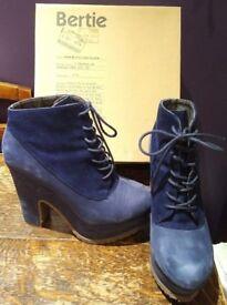 Bertie Prosper Navy Blue Suede & Cord Platform Lace-up Booties Wedge Heels, UK5