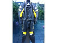 BKS 2-Piece Leathers. Black with Yellow Inserts