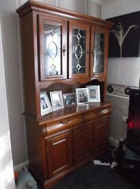 Wooden wall unit with cupboards and 2 drawers ,upper part for nice items to display.