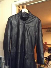 Matrix style full length Gipsy black soft leather coat