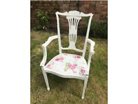 White shabby chic boudoir chair, carver arms & floral seat - pair available