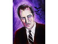 Vincent price painting acrylic halloweeen house on haunted hill horror art