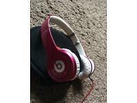 Deep hot pink dr beats solo HD wired headphones
